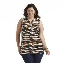 Kathy Che Women's Plus Sleeveless Camp Shirt - Animal Print at Sears.com