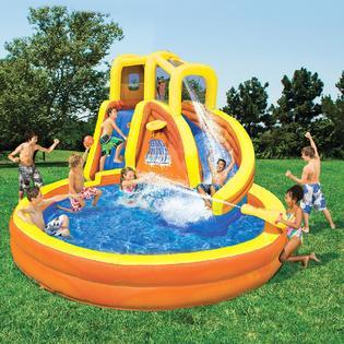 Sears banzai typhoon twist water slide for Inflatable swimming pool kmart