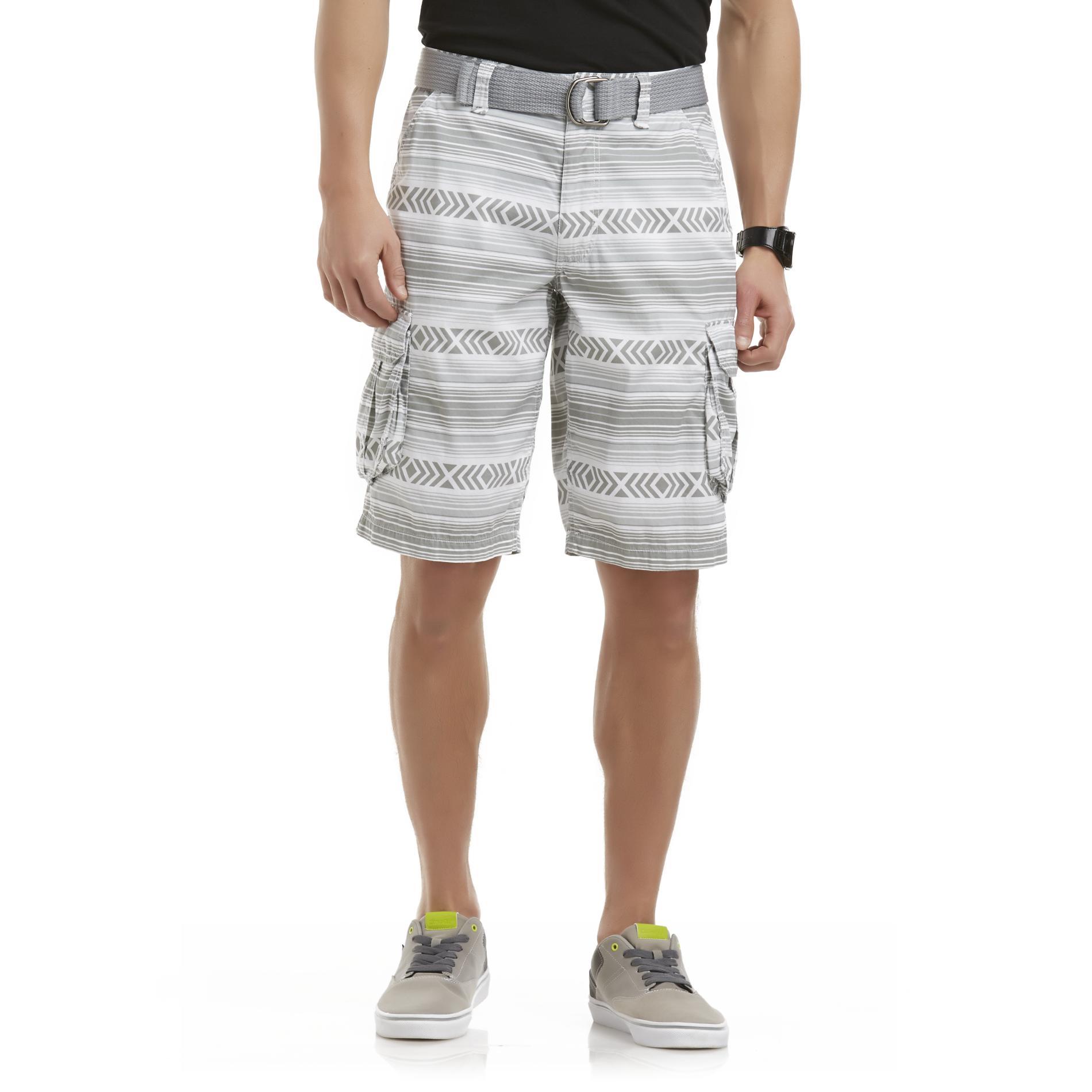 Men's Cargo Shorts & Fabric Belt - Tribal Striped