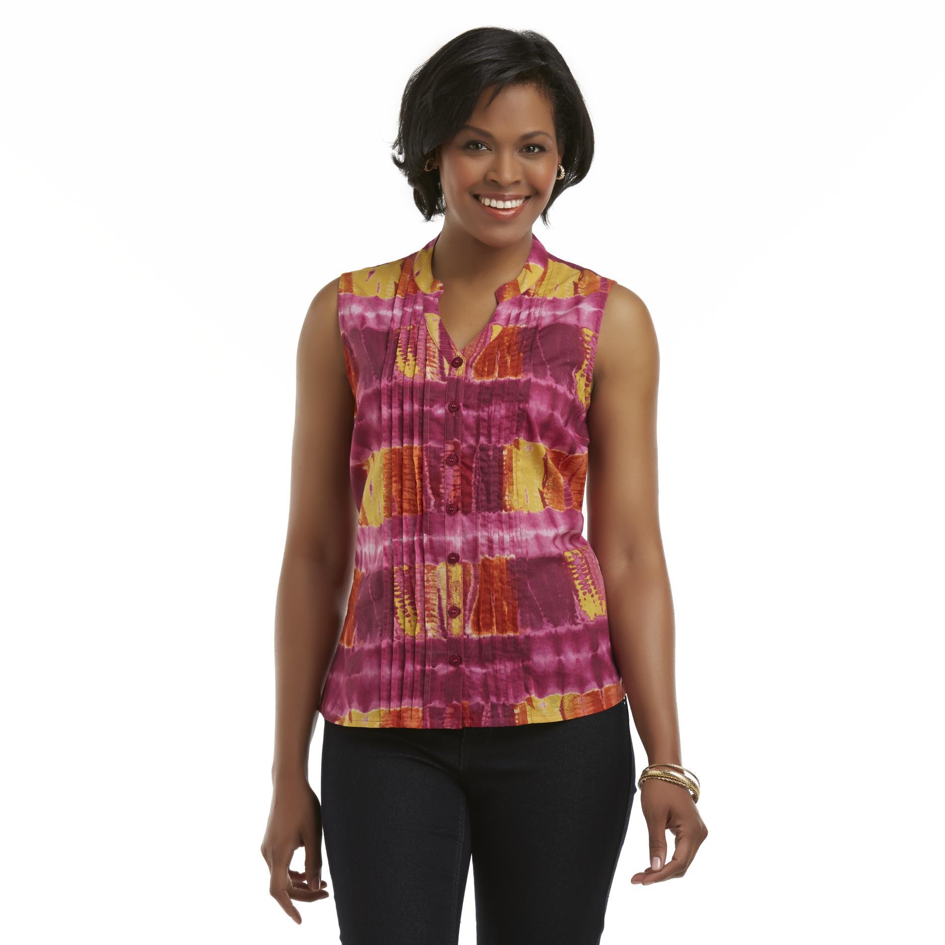 Basic Editions Women's Sleeveless Pintucked Shirt - Tie-Dye at Kmart.com