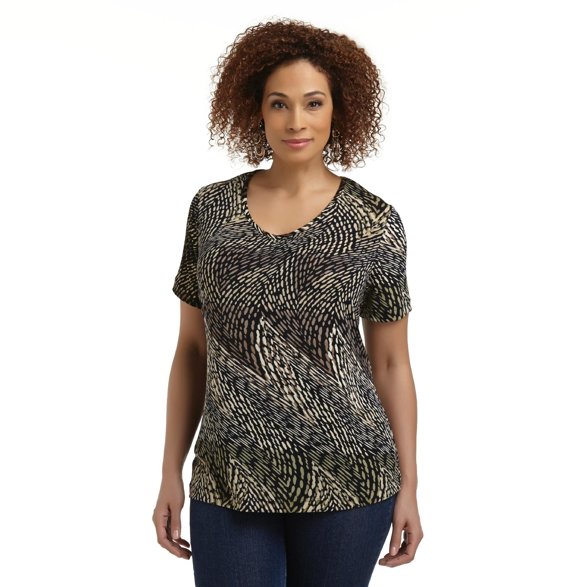 Jaclyn Smith Women's Plus Short-Sleeve Blouse - Abstract Dots at Kmart.com