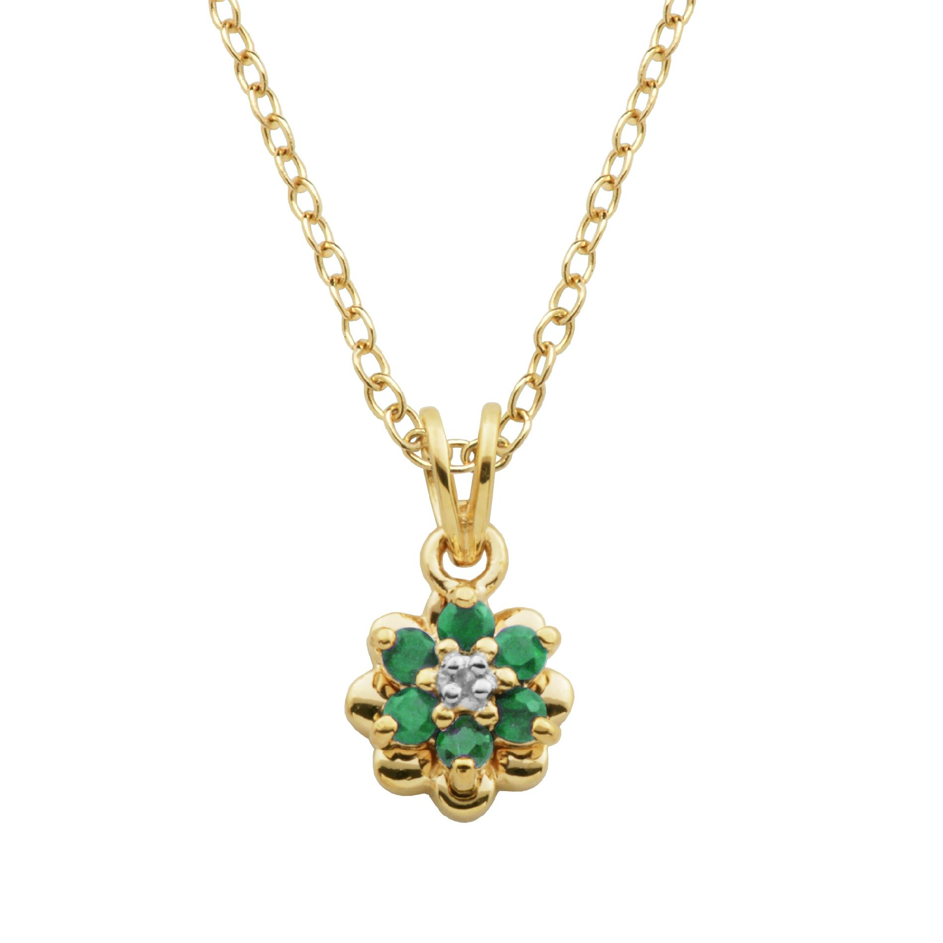 18K Gold Over Sterling Silver Emerald and