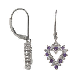 Sterling Silver Amethyst and Lab Created White Sapphire Earrings at Kmart.com