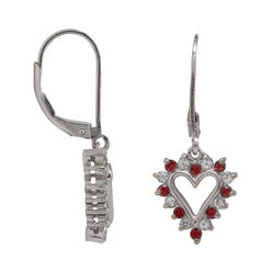 Sterling Silver Lab Created Ruby and Lab Created White Sapphire Earrings at Kmart.com