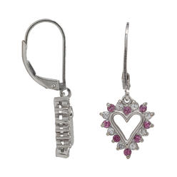 Sterling Silver Lab Created White and Pink Sapphire Heart Earrings at Kmart.com