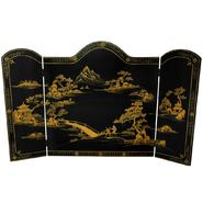 Oriental Furniture Lacquer Fireplace Screen - Black Landscape at Sears.com