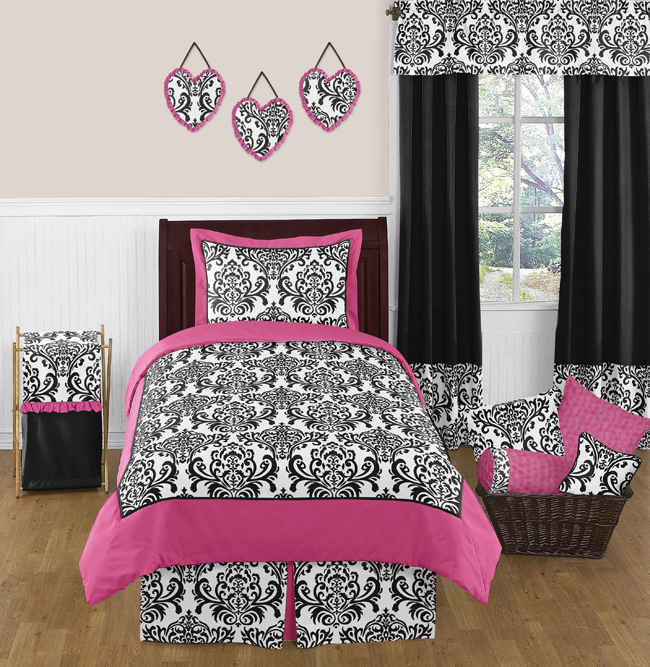 Sweet Jojo Designs Isabella Hot Pink, Black and White Collection 4pc Twin Bedding Set