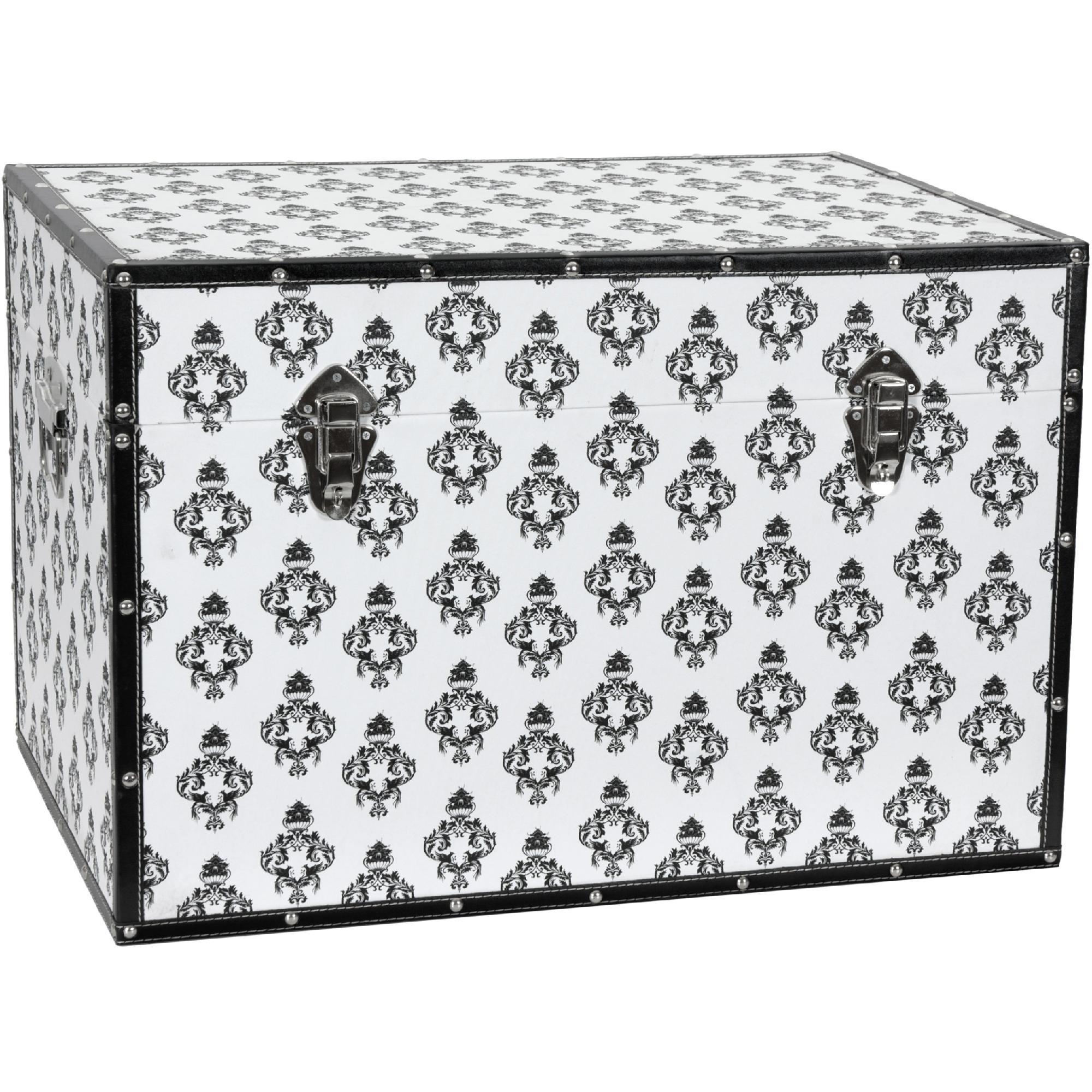 Oriental Furniture Damask Storage Trunk - White