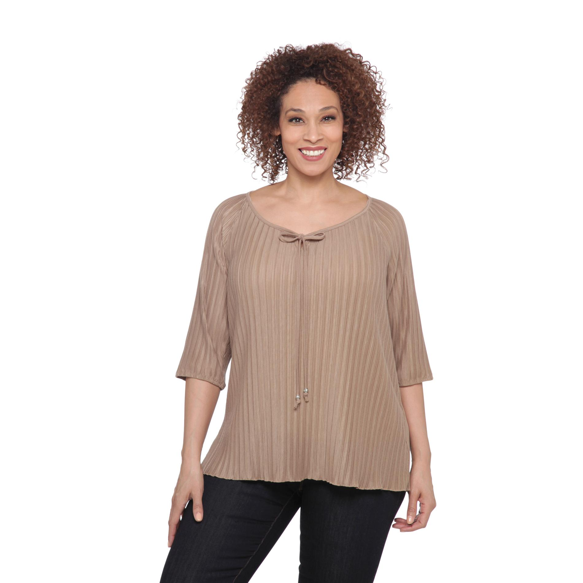 French Laundry Women's Plus Tie-Neck Peasant Top at Sears.com