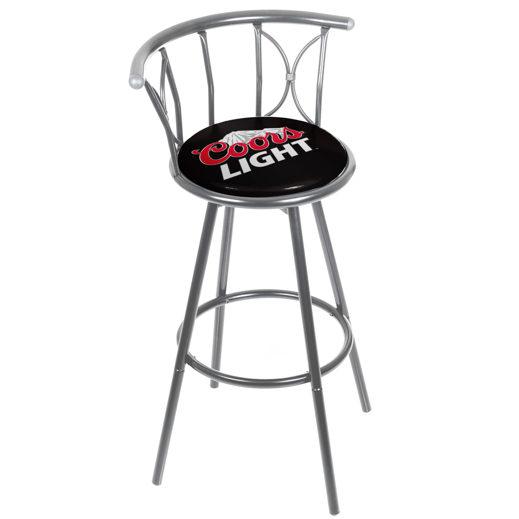 Coors Light Weatherproof Padded Outdoor Bar Stool Silver