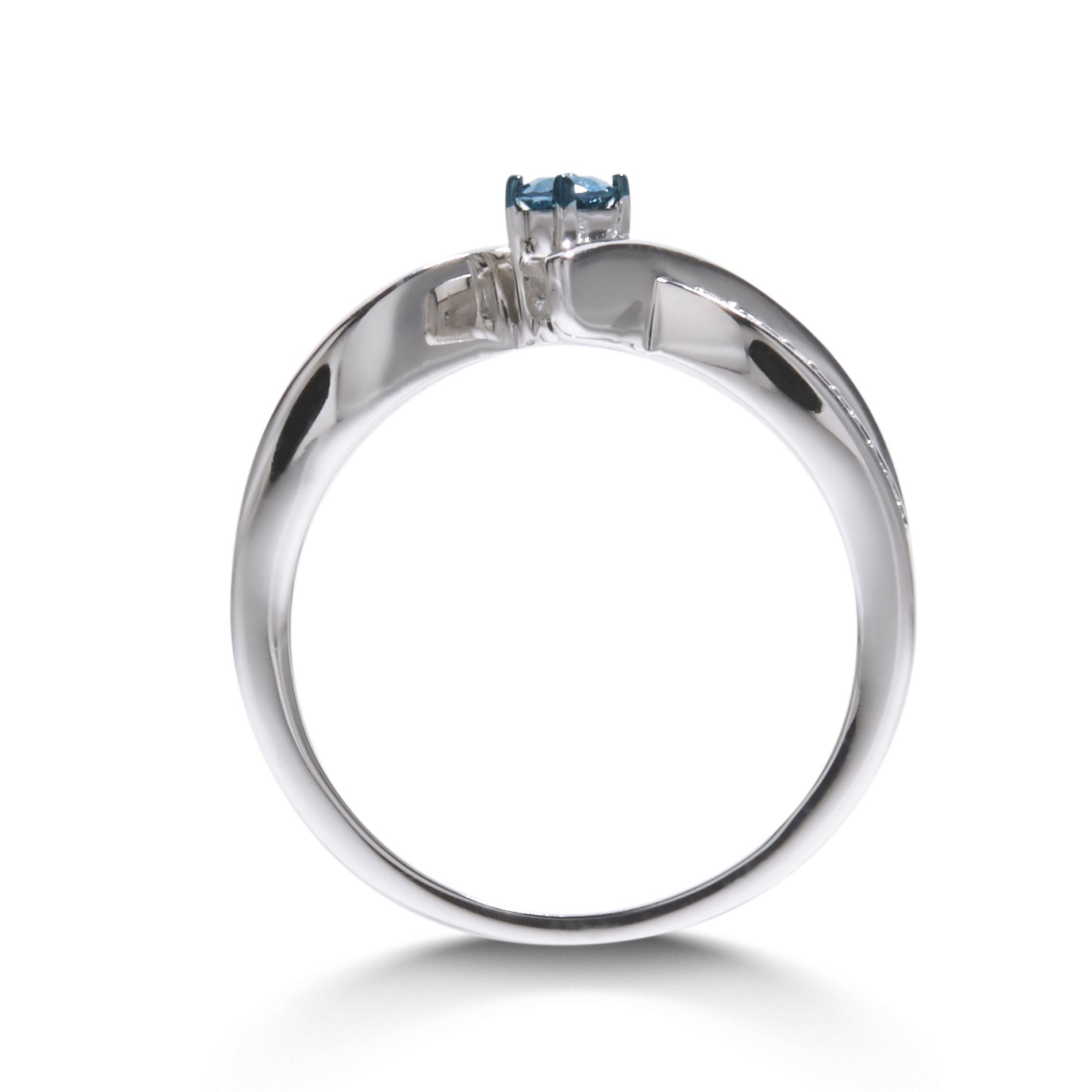 1/7Cttw. Round Silver Blue Diamond Promise Ring