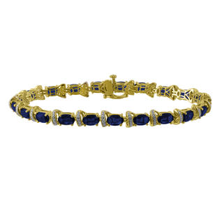 Simulated Diamond and Lab Created Sapphire Yellow Gold Over Sterling Silver Bracelet