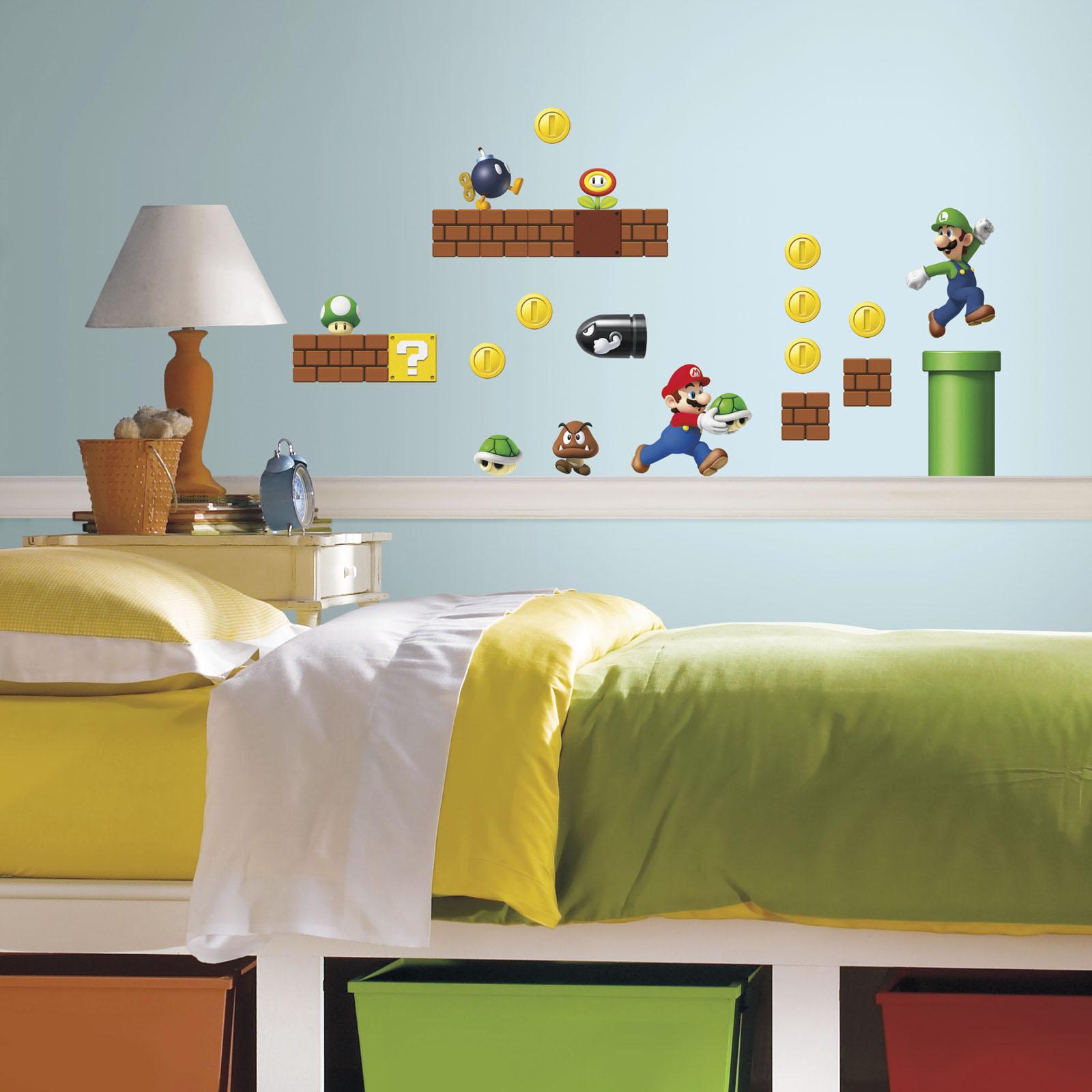 Super Mario Bedroom Roommates Nintendo Super Mario Build A Scene Peel And Stick Wall