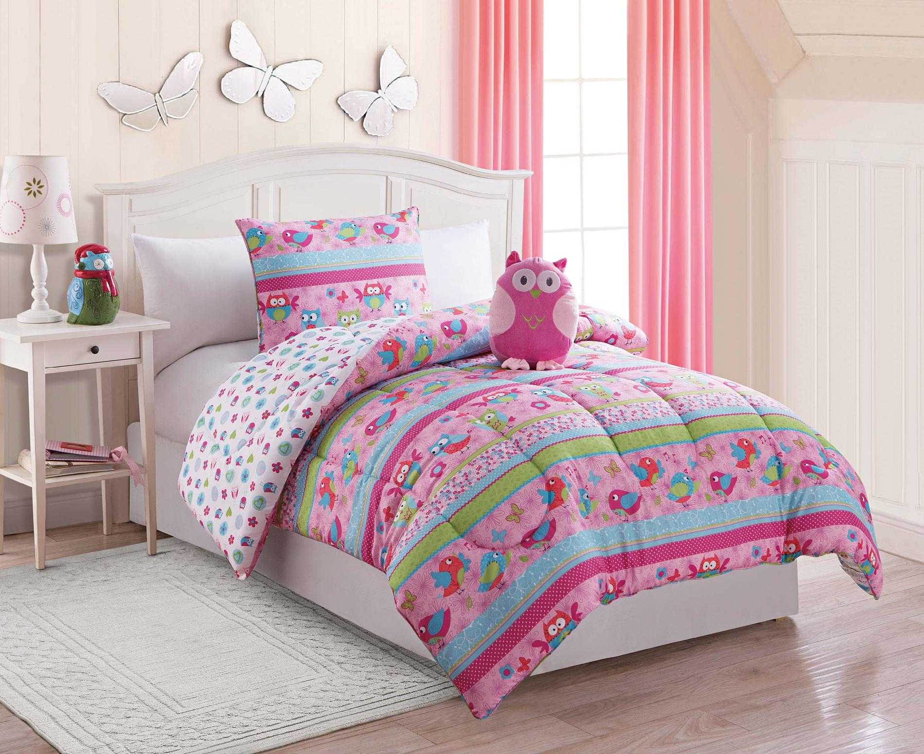 Furry Friends 3 Piece Owl Twin Comforter Set