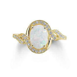 Opal and White Sapphire Gold Over Silver Ring