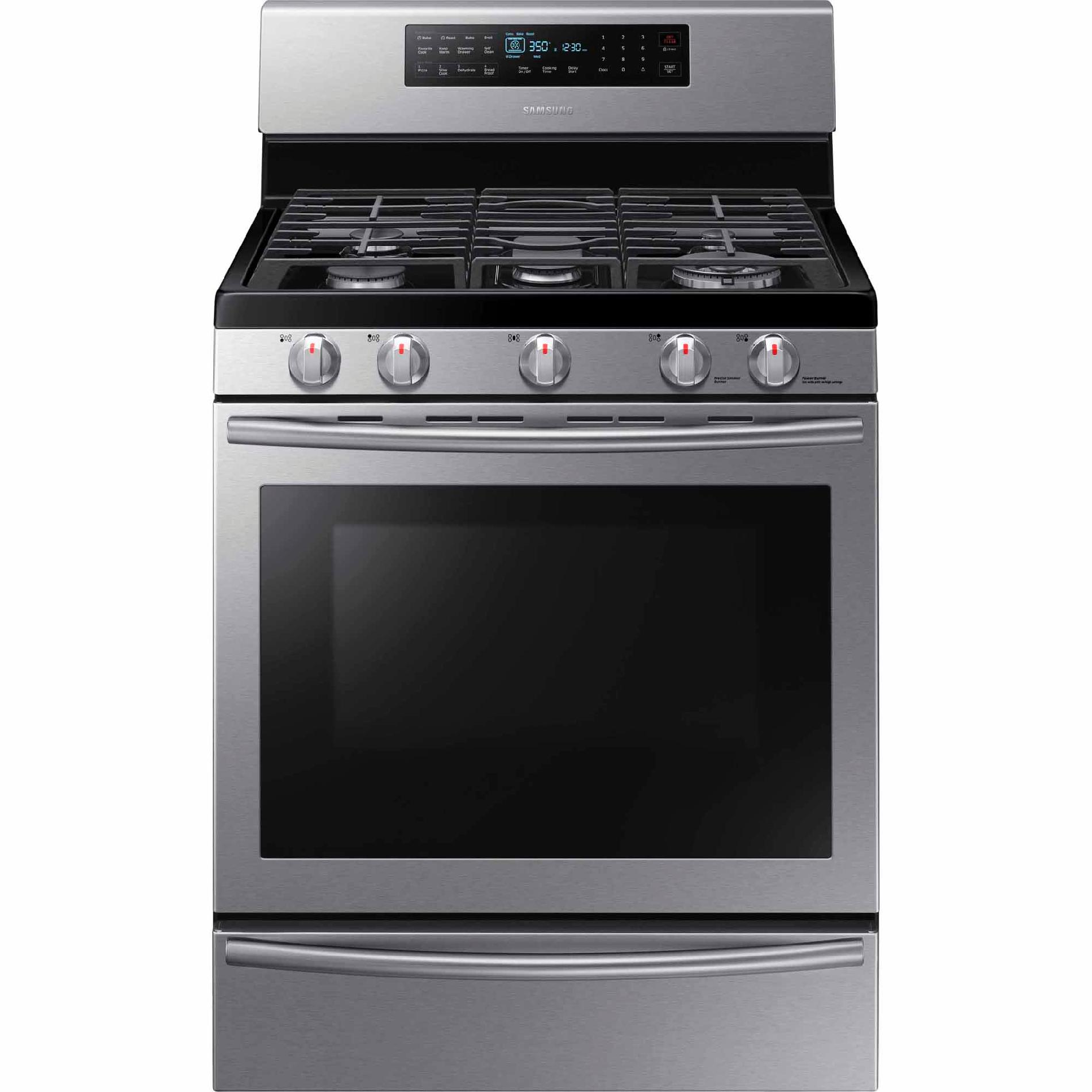 Samsung NX58H5650WS  5.8 cu. ft. Gas Range w/ True Convection - Stainless Steel