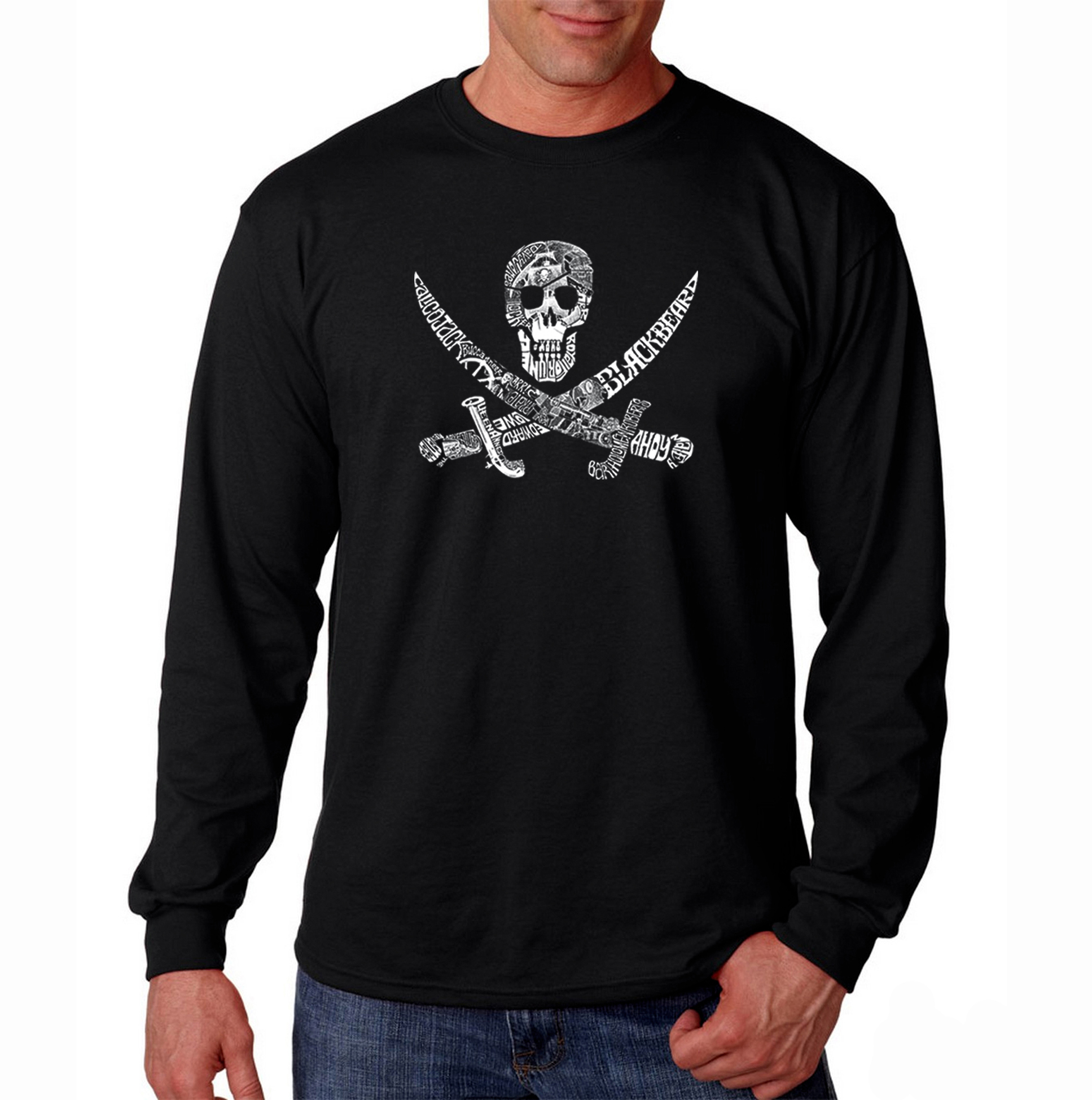Men's Big & Tall Word Art Long Sleeve T-Shirt - Pirate Captains, Ships and Imagery