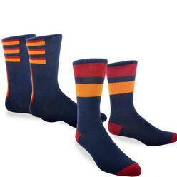 Soxnet Men's Combed Cotton Dress Crew Socks 2-Pair Pack Sport Stripes Combo at Kmart.com