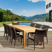 Amazonia Layton 9 Piece Rectangular Teak/Synthetic Wicker Patio Dining Set at Sears.com