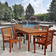 Arvin 7 Piece Eucalyptus Rectangular Patio Dining Set