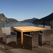 Amazonia Decatur 9 Piece Square Teak/Synthetic Wicker Patio Dining Set with Grey Cushions at Sears.com
