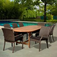 Amazonia Elmo 9 Piece Extendable Oval Teak/Synthetic Wicker Patio Dining Set with Grey Cushions at Sears.com
