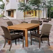 Amazonia Shelby 5 Piece Rectangular Teak/Synthetic Wicker Patio Dining Set with Grey Cushions at Sears.com