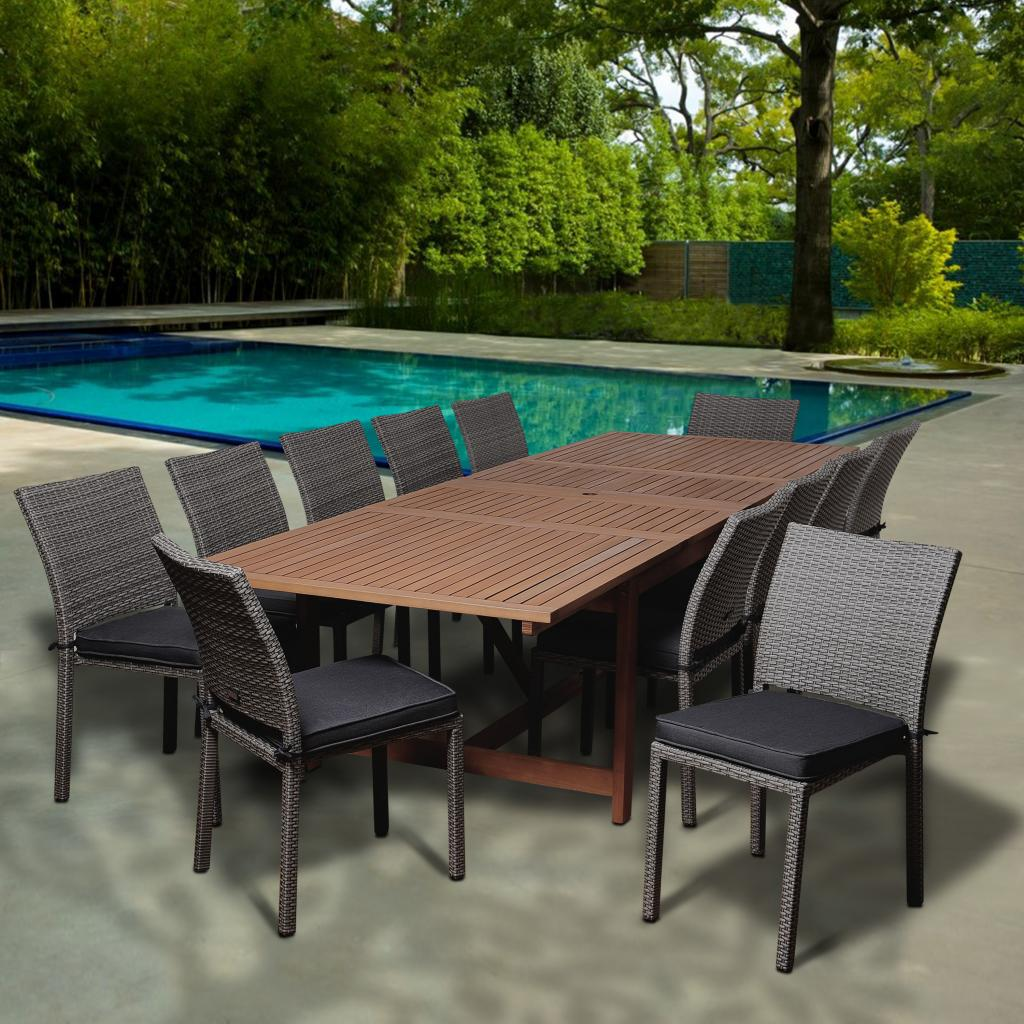 Superbe Amazonia Maple 13 Piece Eucalyptus/Synthetic Wicker Extendable Rectangular  Patio Dining Set With Grey Cushions