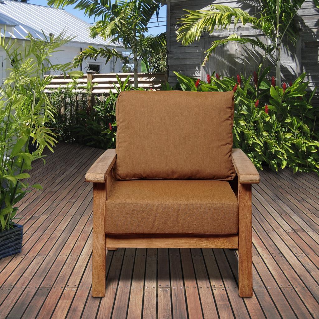 Amazonia Del Prado Teak Patio Armchair with Sunbrella® Teak Color Cushions