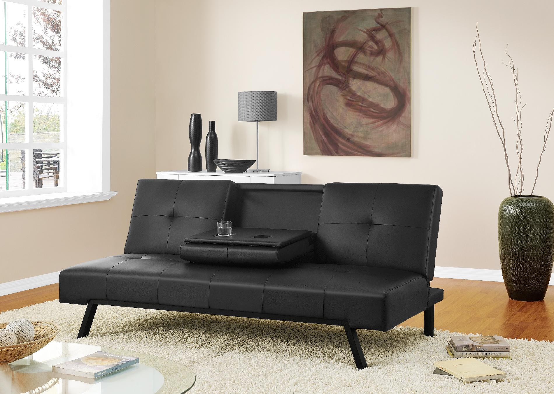 Dorel Home Furnishings Wynn Black Cupholder Convertible Futon