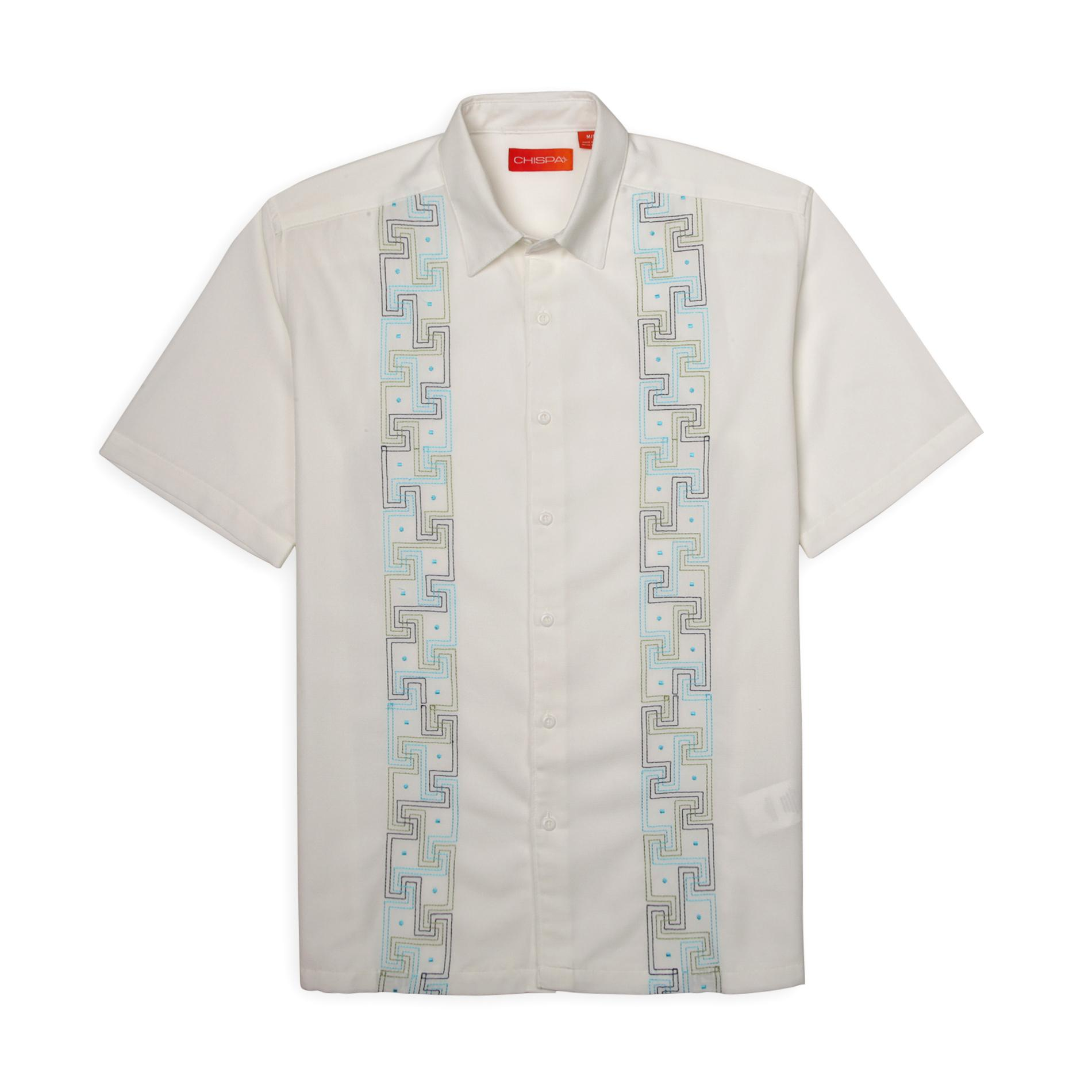Chispa Men's Embroidered Casual Shirt - Geometric Key