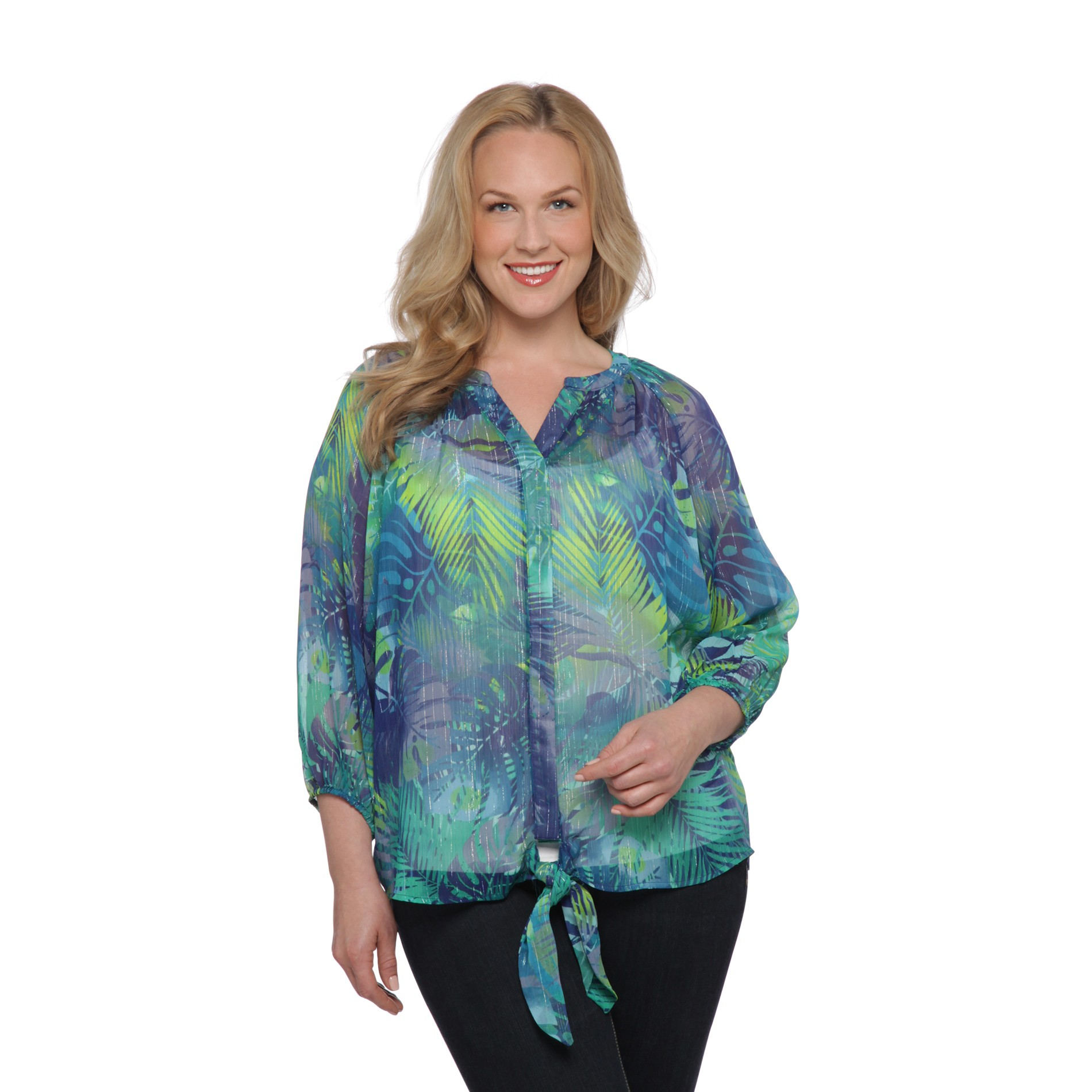 Jaclyn Smith Women's Plus Tie-Front Blouse - Metallic at Kmart.com