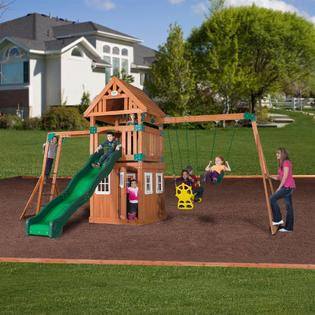 backyard discovery castle peak wooden swing set toys games