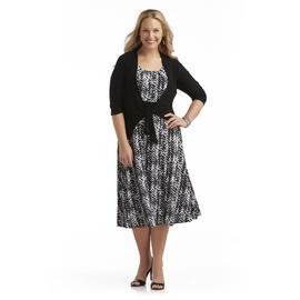Perception Women's Plus Dress & Cardigan - Chevron Print at Sears.com