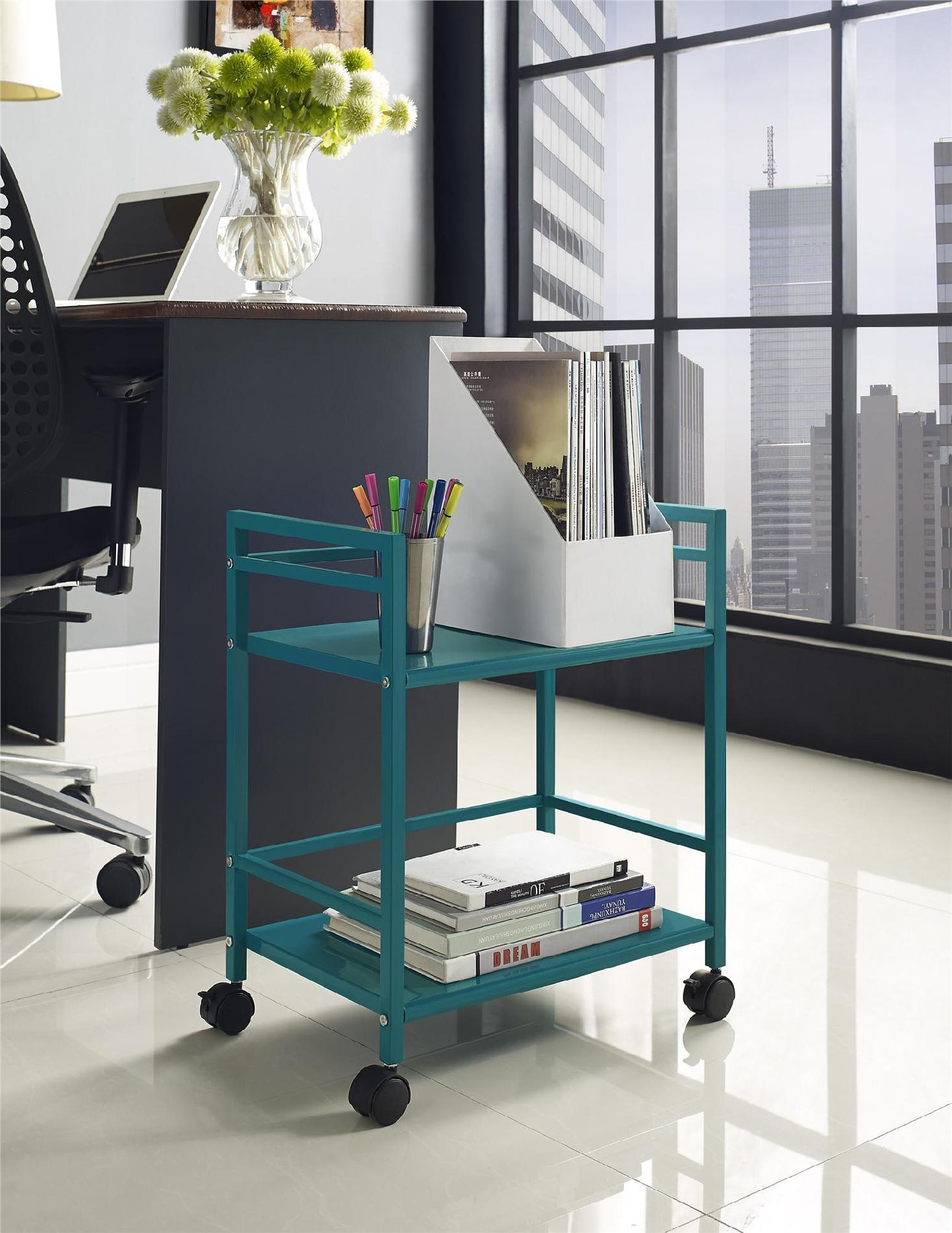 Dorel Home Furnishings Marshall 2-Shelf Metal Rolling Utility Cart Multiple Colors