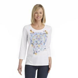 Laura Scott Women's Embellished Knit Top - Floral Arch Print at Sears.com