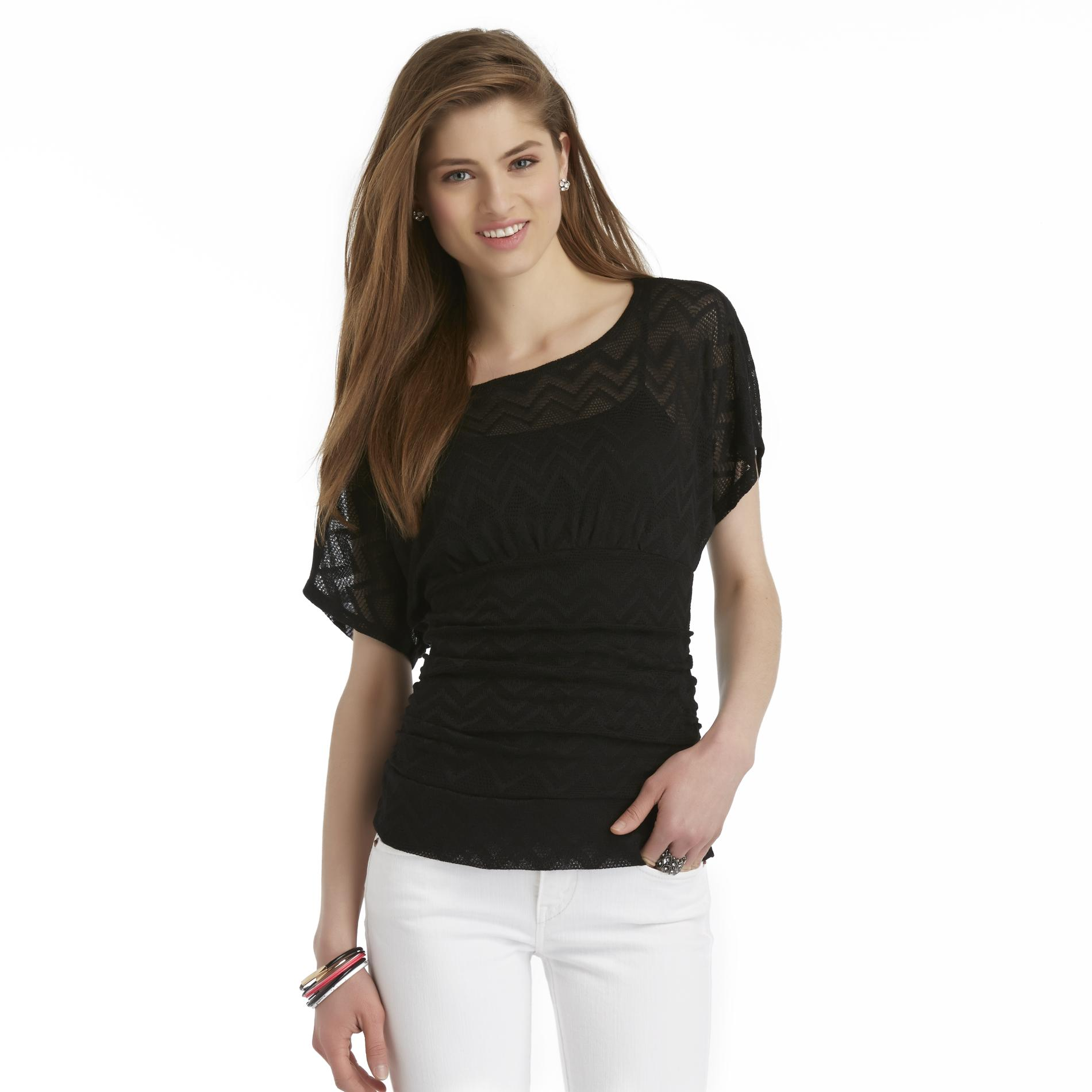 Bongo Junior's Lace Dolman Sleeve Top - Chevron at Sears.com