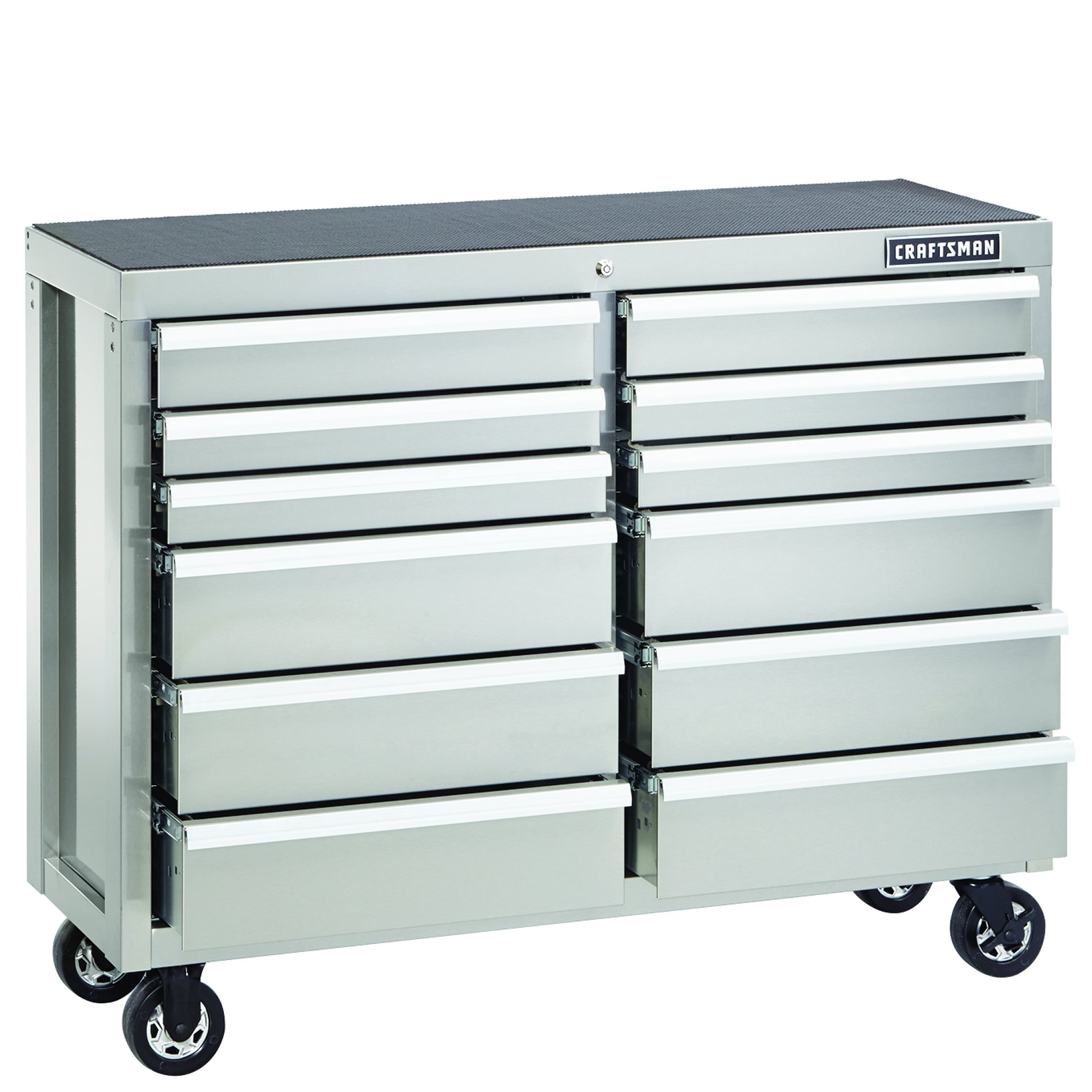 Craftsman 52-Inch 12-Drawer Premium Heavy-Duty Rolling Cabinet- Stainless Steel