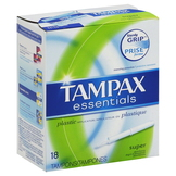 Tampax Essentials Tampons, Plastic Applicator, Super Absorbency, 18 tampons at mygofer.com