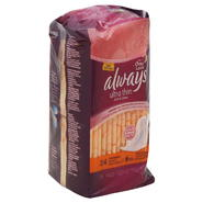 Always Pads, Ultra Thin, Flexi-Wings, Overnight, Deodorizing, 24 pads at Kmart.com