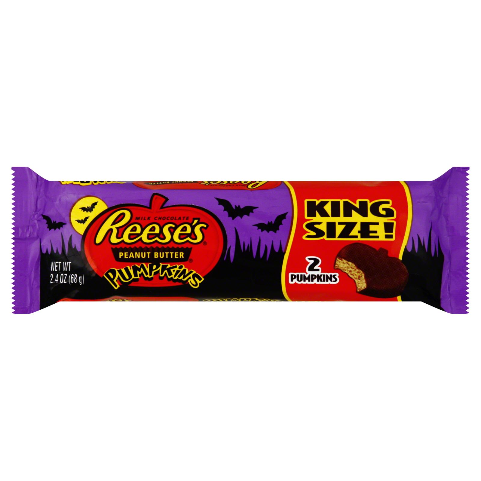 Reese's Peanut Butter Cups, Milk Chocolate, Pumpkins, King Size, 2 pumpkins [2.4 oz (68 g)] PartNumber: 033W003772836000P KsnValue: 033W003772836000