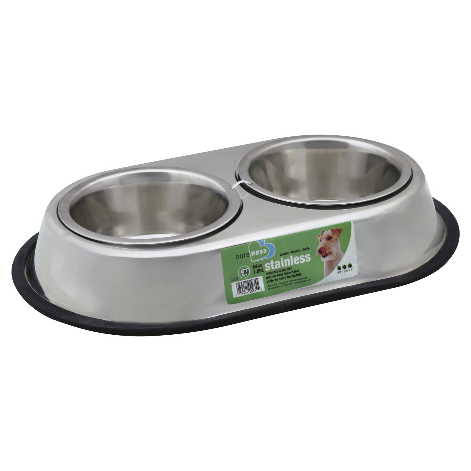 Van Ness Products Stainless Steel Double Dog Dish, Large, 64 oz PartNumber: 08777786000P KsnValue: 5375298 MfgPartNumber: SS5