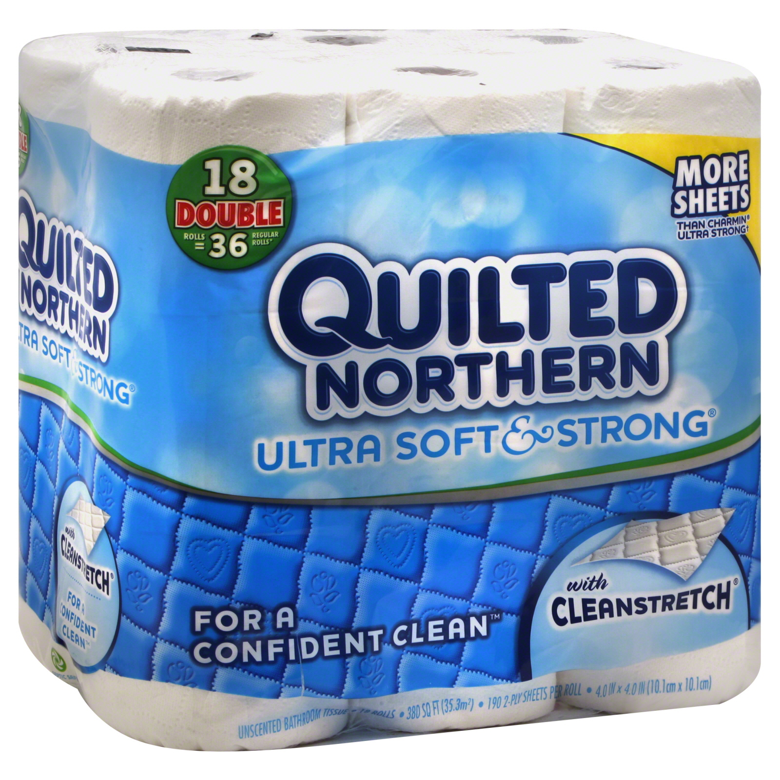 Quilted Northern Ultra Soft & Strong Bathroom Tissue, Unscented, Double Rolls, 2-Ply, 18 rolls