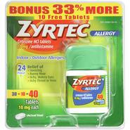 Zyrtec Tablets Allergy 24 Hour 10mg Bonus Packs 40 CT CARDED PK at Kmart.com