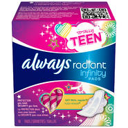 Procter & Gamble Totally Teen Radiant Infinity Pads 14 CT at Kmart.com