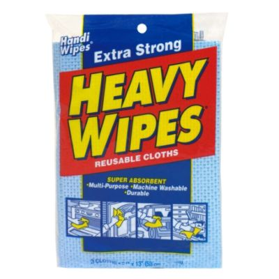 Heavy Wipes Reusable Cloths, Extra Strong, 3