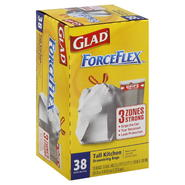 Glad ForceFlex Tall Kitchen Bags, Drawstring, 13 Gal, 38 bags at Kmart.com