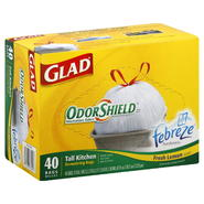 Glad Odor Shield Tall Kitchen Bags, Drawstring, 13 Gallon, Fresh Lemon Scent, 40 bags at Kmart.com