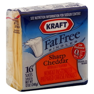Kraft Singles Cheese Product, Nonfat Pasteurized Prepared, Sharp Cheddar, Fat Free, 16 - 0.75 oz slices [12 oz (340 g)] at Kmart.com