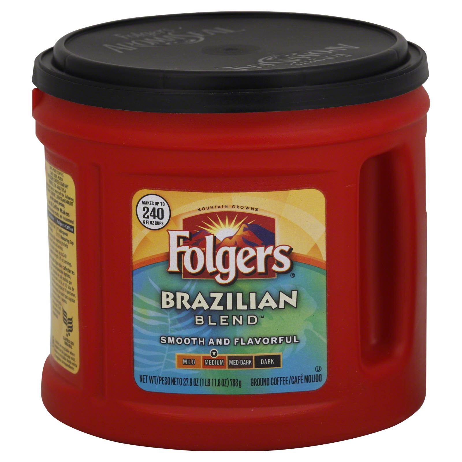 Folgers One Cup Coffee Maker : Folgers Coffee, Ground, Medium, Brazilian Blend, 27.8 oz (1 lb 11.8 oz) 788 g - Food & Grocery ...